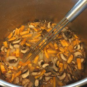 Matchstick cut sweet potatoes add heartiness to a light soup.